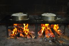 A couple of Bolo do Caco - Porto Santo. Photo of Bolo do Caco being cook on fire - a typical food from Porto Santo island - archipelago of Madeira - Portugal Stock Photography
