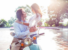 Couple bonding together outdoors Royalty Free Stock Images