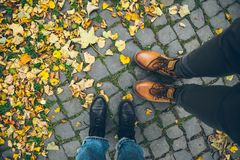 Couple boots top view with yellow leaves. Couple boots top view with yellow autumn leaves Stock Photo