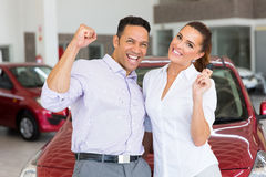 Couple bought new car Stock Images