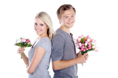 Couple with a bouquet Royalty Free Stock Photography