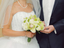 Couple with Bouquet Royalty Free Stock Photography