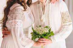 Couple with Bouquet Royalty Free Stock Images