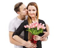 couple with a bouquet of tulips, valentines day theme Stock Photos