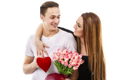 couple with a bouquet of tulips, valentines day theme Stock Images