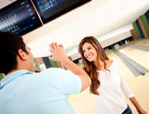 Couple bowling Stock Photo