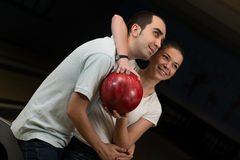 Couple In A Bowling Alley Stock Photo