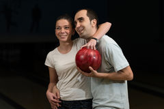 Couple In A Bowling Alley Royalty Free Stock Photography