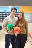 Couple in bowling Royalty Free Stock Photo