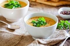 Homemade Pumpkin And Potato Soup Stock Photo