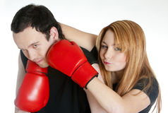 Couple with boxing gloves Stock Image
