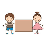 Couple boy and girl with card Stock Images