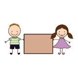 Couple boy and girl with card Stock Photography
