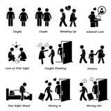 Couple Boyfriend Girlfriend Love Cliparts. A set of human pictograms representing the scenario and issue of boyfriend and girlfriend Royalty Free Stock Photography