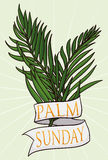 Couple of Branches with Ribbon for Palm Sunday, Vector Illustration stock image