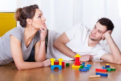 Couple during break in games. Young couple during break in games, horizontal Stock Photo