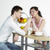 Couple during breakfast Stock Photo