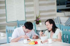 Couple At Breakfast Stock Photos