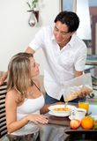 Couple at breakfast Stock Image