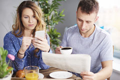 Couple during breakfast Royalty Free Stock Images