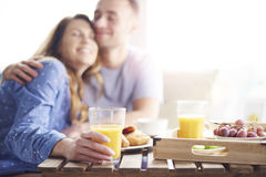 Couple during breakfast Royalty Free Stock Photography