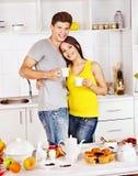 Couple breakfast at kitchen. Happy couple breakfast at kitchen Stock Photo