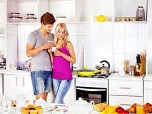 Couple breakfast at kitchen. Happy couple breakfast at kitchen Royalty Free Stock Photo