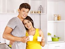 Couple breakfast at kitchen. Stock Image