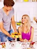 Couple breakfast at kitchen. Happy couple breakfast at kitchen Royalty Free Stock Image