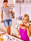 Couple breakfast at kitchen. Happy couple breakfast at kitchen Stock Photos