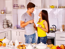 Couple breakfast at kitchen Stock Image
