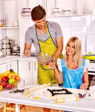 Couple breakfast at kitchen Stock Images