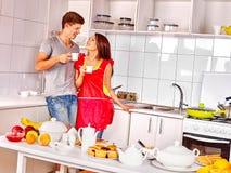 Couple breakfast at kitchen Stock Photo