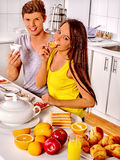 Couple breakfast at kitchen Stock Photo