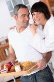 Couple at breakfast Stock Photos