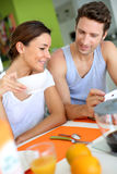 Couple at breakfast table Royalty Free Stock Photo