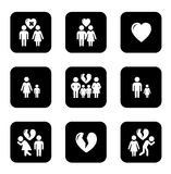 Couple breakup, divorce black icons set. On white background Royalty Free Stock Photos