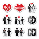Couple breakup, divorce, broken family  icons set Royalty Free Stock Image