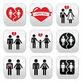Couple breakup, divorce  buttons set. Buttons set  on white - broken heart concept Stock Photography