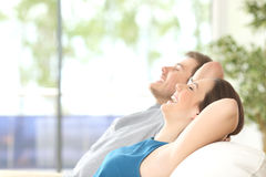 Free Couple Breathing And Resting At Home Stock Images - 76609104