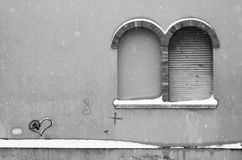Couple of brick arch in the snow. Pesaro, Italy Stock Images