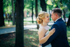 Couple bride and groom on the background of the park's trees Stock Image