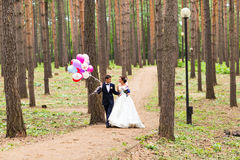 Couple of bride and groom with balloons Royalty Free Stock Photos