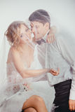 Couple of bride and groom covered with veil Royalty Free Stock Image