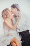 Couple of bride and groom covered with veil Royalty Free Stock Photography