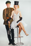 Couple of bride and groom in militari uniform Royalty Free Stock Photography