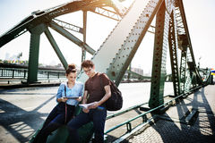 Couple Bridge Hangout Traveling Map Concept Royalty Free Stock Image