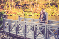 Couple on a bridge Royalty Free Stock Photography