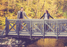 Couple on a bridge Stock Image