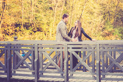 Couple on a bridge Stock Images